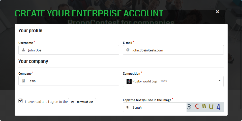 Creating your Enterprise account